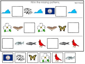 Virginia State Symbols themed Fill In the Missing Pattern Preschool Math Game.