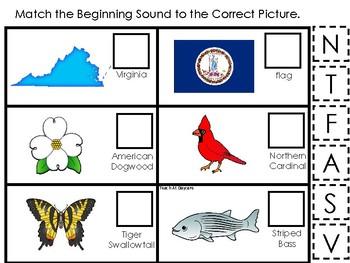 Virginia State Symbols themed Match the Beginning Sound Preschool Phonics Game.
