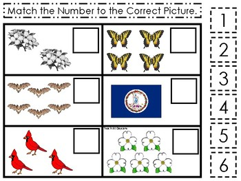 Virginia State Symbols themed Match the Number Preschool Math Counting Game.