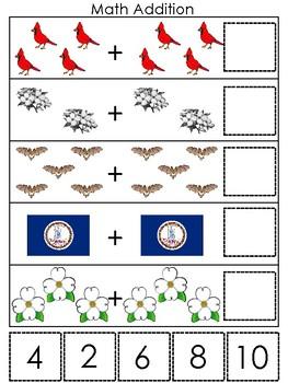 Virginia State Symbols themed Math Addition Preshool Learning Math Game.