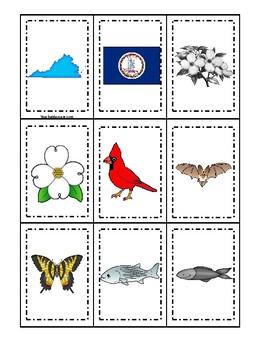 Virginia State Symbols themed Memory Match Preschool Educational Card Game