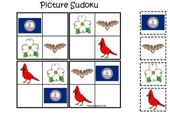 Virginia State Symbols themed Picture Sudoku Preschool Learning Math Game.