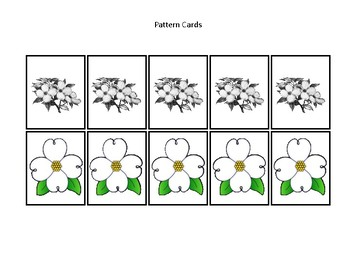Virginia State Symbols themed Preschool Pattern Cards and Game Board.