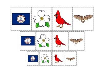 Virginia State Symbols themed Size Sorting Printable Preschool Math Game.