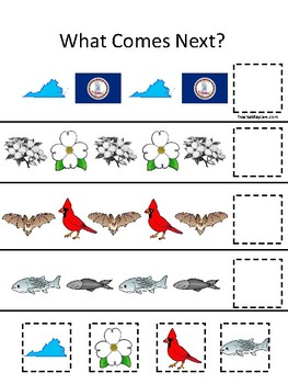 Virginia State Symbols themed What Comes Next Preschool Math Pattern Game.