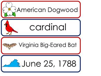 Virginia State Word Wall Bulletin Board Set. Geography Curriculum.