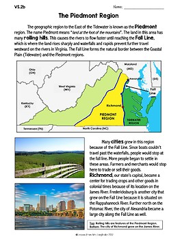 Virginia Studies VS.2b Piedmont Region Reading Comprehension and Review