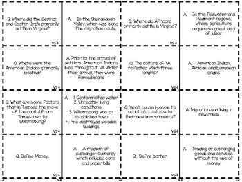 Virginia Studies 4: Colonial Virginia Study Cards