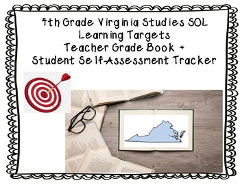 Virginia Studies (4th) SOL Learning Targets Grade Book + Student Self-Tracker