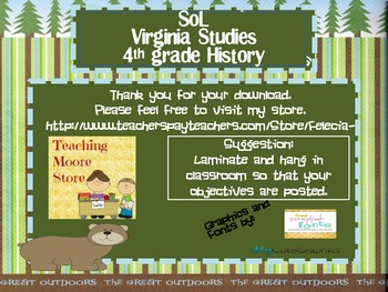 Virginia Studies 4th grade History Objectives - Camping Theme