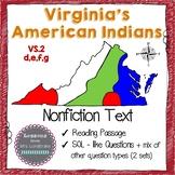 Virginia Studies Virginia Indians Nonfiction Text & SOL Qu