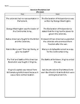 Virginia Studies American Revolution True/False Sort