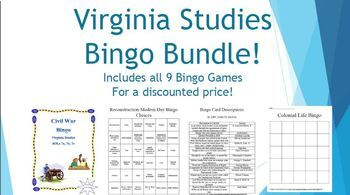 Virginia Studies Bingo BUNDLE! SOL Aligned