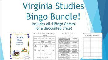 Virginia Studies Bingo BUNDLE! SOL Aligned