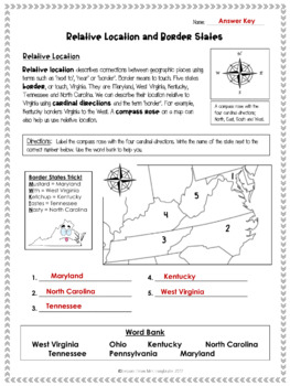 Border States and Relative Location VS.2a Worksheet Freebie