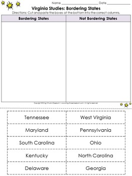 Virginia Studies: Bordering States Cut and Paste Activity - Geography