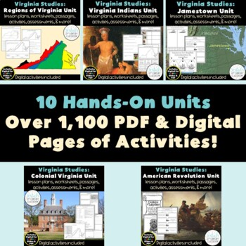 Virginia Studies Bundle- Entire Year! {PDF & Digital Included}