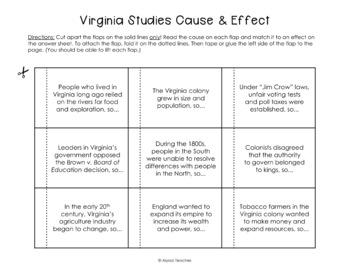Virginia Studies Cause & Effect Activity