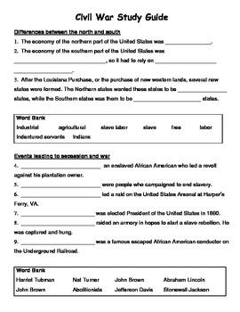 virginia studies civil war study guide by it s fun in 4th tpt rh teacherspayteachers com civil war study guide quizlet civil war study guide key