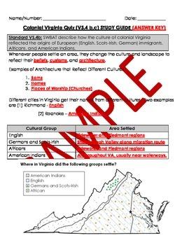 Virginia Studies: Colonial VA Study Guide and Quiz - VS.4 b,c