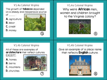 Virginia Studies Colonial Virginia Task Cards VS.4