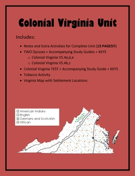 Virginia Studies Colonial Virginia Unit (VS.4 a-e)