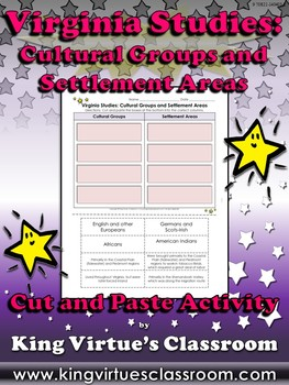 Virginia Studies: Cultural Groups and Settlement Areas Cut and Paste Activity