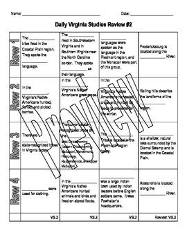 Virginia Studies Daily Review Worksheet #2 and KEY - VS.2