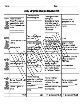 Virginia Studies Daily Review Worksheet #11 and KEY - VS.7abc