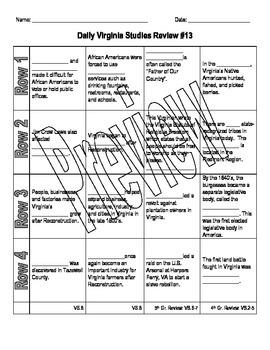 Virginia Studies Daily Review Worksheet #13 and KEY - VS.8bc