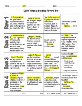 virginia studies daily review worksheet 16 and key vs 9c by