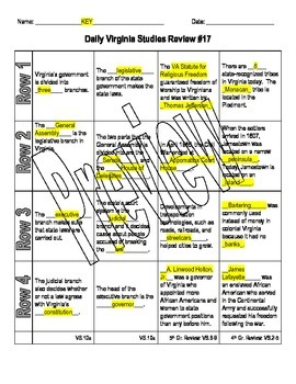 Virginia Studies Daily Review Worksheet #17 and KEY - VS.10a