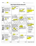 Virginia Studies Daily Review Worksheet #5 and KEY - VS.5
