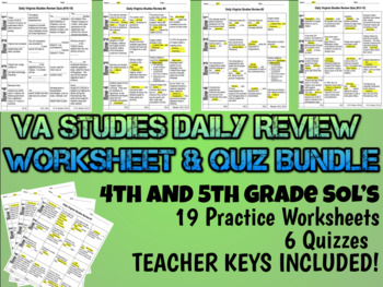 Virginia Studies Daily Review WS & QUIZ Bundle 4th & 5th Gr (updated 2016 SOL's)