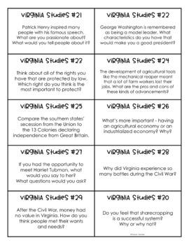 Virginia Studies Discussion Prompt Task Cards
