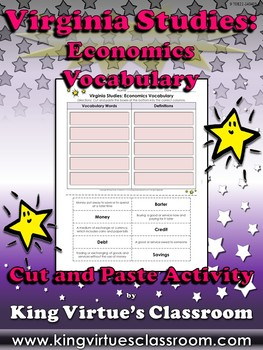 Virginia Studies: Economics Vocabulary Words Cut and Paste Activity