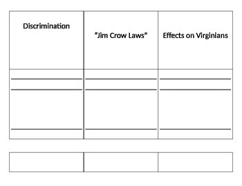 "Virginia Studies: Effects of ""Jim Crow"" Flashcards/Foldable"