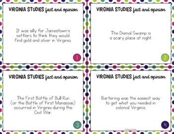 Virginia Studies Fact and Opinion Task Cards (All Standards)