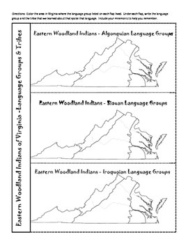 Virginia Studies Freebie - Virginia Indians Language Groups & Tribes with Maps