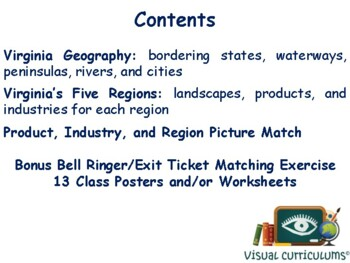 VA Geography, Products & Industries Lesson-study guide stae exam prep 2017 2018