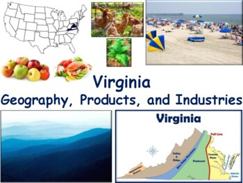 VA Geography, Products & Industries Lesson-study guide stae exam prep 2018 2019