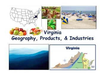 VA Geography, Products & Industries Flashcards- task cards study guide 2018 2019