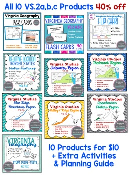 Virginia Studies Regions and Geography Unit VS.2a,b,c (Bundled Resources)