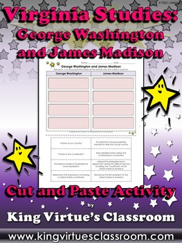 Virginia Studies: George Washington and James Madison Cut and Paste Activity