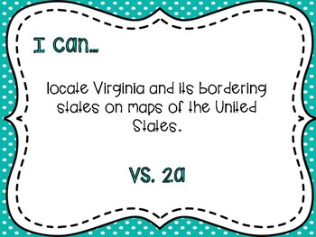 """Virginia Studies Objectives/""""I Can"""" Statements"""