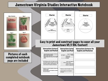 Virginia Studies Interactive Notebook 1st Quarter BUNDLE