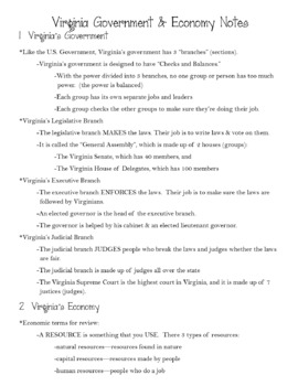 Virginia Studies Interactive Notebook - VA Government & Economics - VS.10