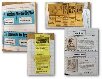 Virginia Studies Interactive Notebook - VS.8 Reconstruction Foldables