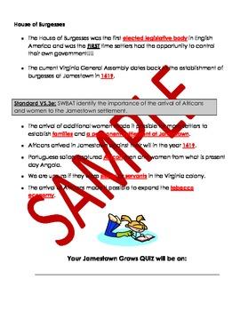 Virginia Studies: Jamestown Grows Study Guide and Quiz - VS.3 d,e