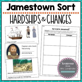 Virginia Studies Jamestown Sort Hardships and Changes VS.3f